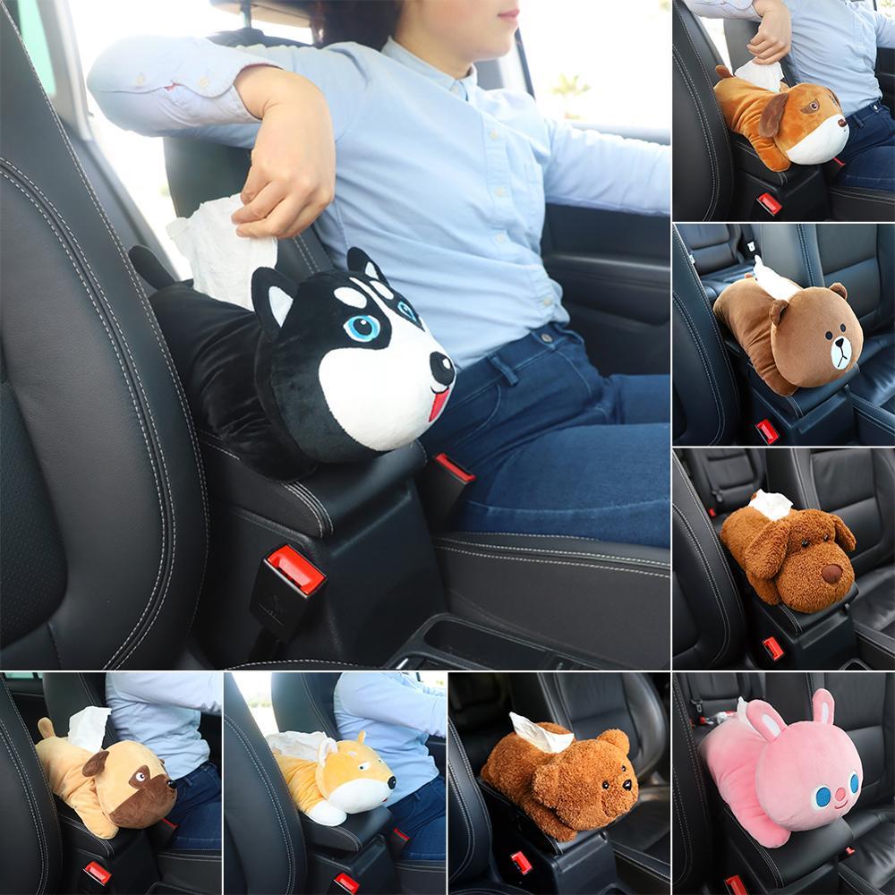 Nova alta qualidade universal caixa de tecido caixa de braço do carro criativo dos desenhos animados bonito tecido caixa interior do carro produtos acessórios do carro