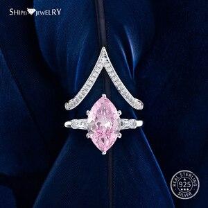 Image 5 - Shipei 天然サファイアリング女性のためのリアル 100% スターリングシルバー宝石用原石シトリン婚約ウェディングカクテル · リングファインジュエリー
