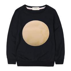 Детские осенние хлопковые толстовки с бархатным круговым логотипом; Простые зимние топы для девочек; толстовки для маленьких девочек;