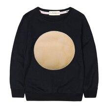 Çocuklar sonbahar pamuk tişörtü kadife daire Logo basit kızlar kış üstleri bebek kız Hoodies rahat erkek tişörtü