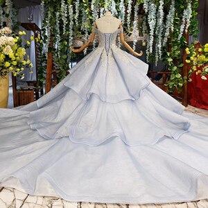Image 2 - BGW 2020 Sexy V cuello de hombro Teired Ball Gown Organza musulmán Formal Vestidos de Noche de encaje hasta la espalda con cuentas de cristal mujeres vestido