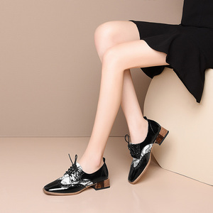 Image 3 - Women summer leather shoes woman brogue lady flats shoes vintage sneakers laces spring casual shoes for women 2020
