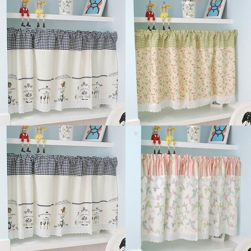 Rod Pocket Half-curtain Lace Hem Short Curtain for Kitchen Small Window Drapes Dust Cabinet Door Curtain Coffee Shop Decor Panel
