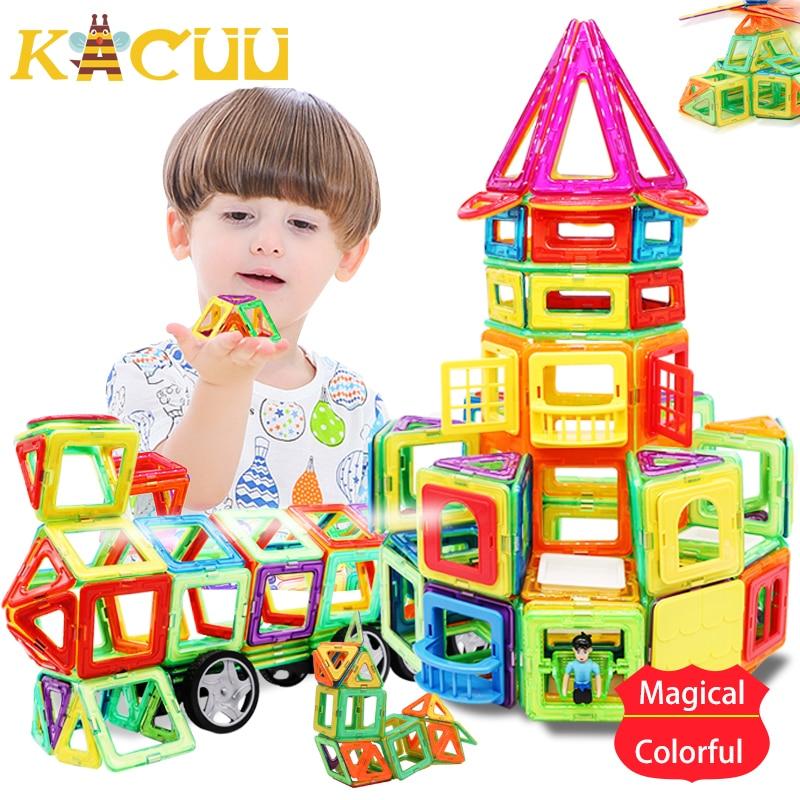 44pcs-157pcs Big Magnetic Designer Construction Set Model & Building Toy Plastic Magnetic Blocks Educational Toys For Kids Gift