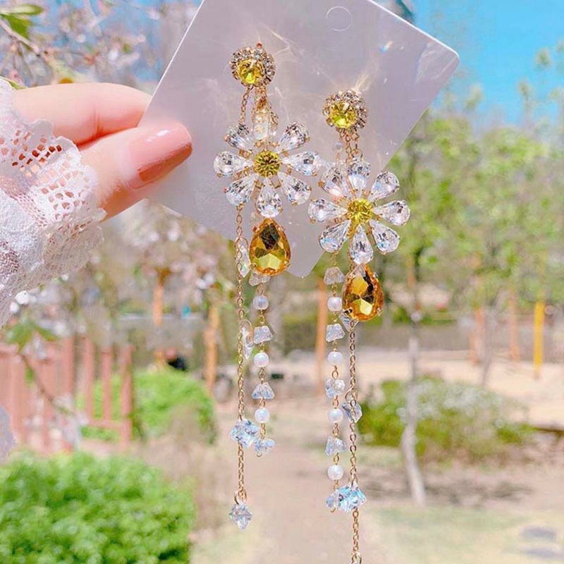 MENGJIQIAO New Exaggerated Elegant Yellow Flower Crystal Long Pearl Tassel Drop Earrings For Women Girls Brincos Party Jewelry