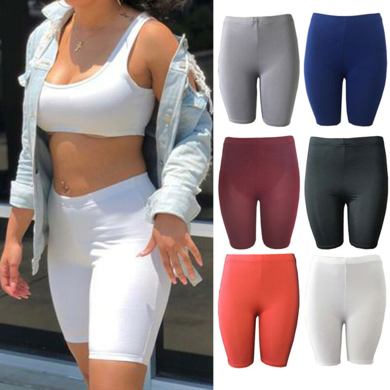2020 New Women's Basic Pure Color Stretch Locomotive Sports  Pants (pure Cotton) Trousers Knee Length