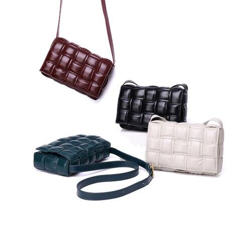 Bolsa de Pão Bolsa de Luxo Gaveta Acolchoada Costura Quadrado Designer Pequena Xadrez Couro Travesseiro Vintage Retro Senhora Mensageiro Bolsa