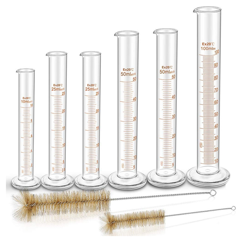 Thick Glass Graduated Measuring Cylinder Set Glass With Two Brushes