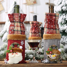 Hot Christmas Ornaments Wine Bottle Set Plaid Linen Bottle cover Decorated longchampagn bags beer can disguise gift bag F913(China)