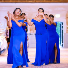 Blue Bridesmaid Dresses Side Split Wedding Guest Dr