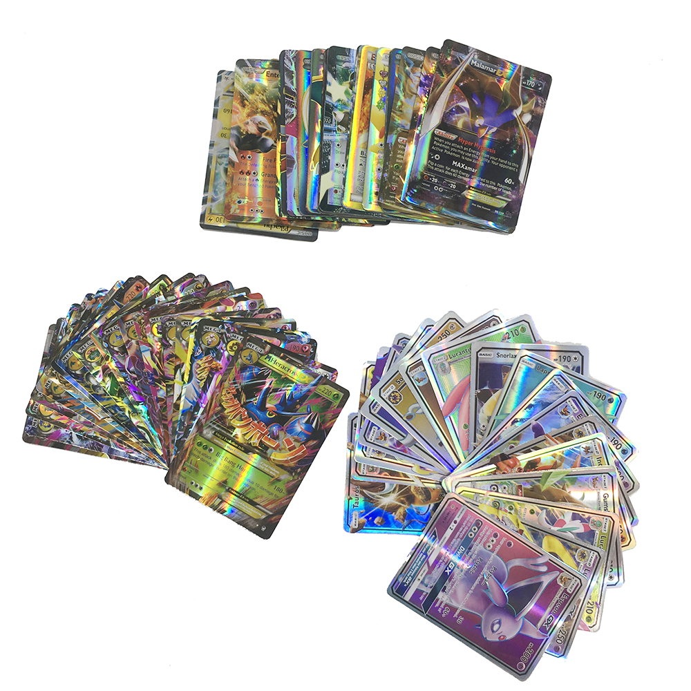 Takara Tomy Pokemon 100PCS GX EX MEGA Flash Card Sword Shield Card Collections Christmas Gifts Kids Toy