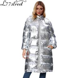 L77street Liizi Winter Thick Tooded Shiny Woman Winter Jacket  Silver Long over-the-knee versatile Cotton coat