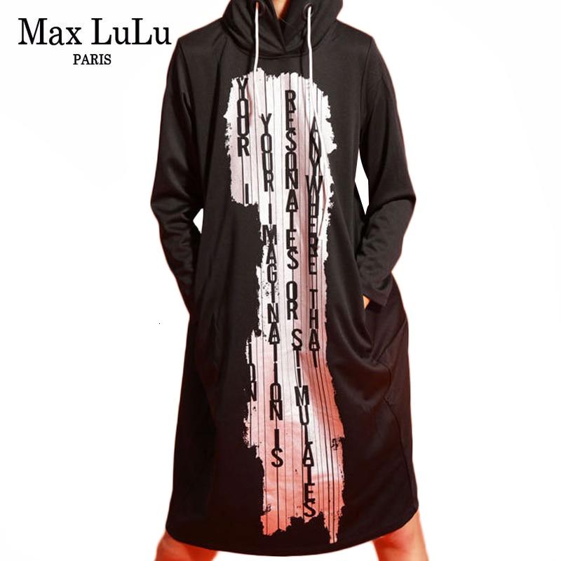 Max LuLu 2019 mode coréenne dames automne Fitness Streetwear femmes imprimé à capuche robes élégantes Vintage à manches longues robes