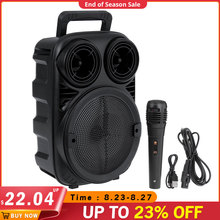 Portable Wireless bluetooth Speaker Music Player With Party Light Stereo Subwoofer Support FM Radio TF AUX USB Rechargeable