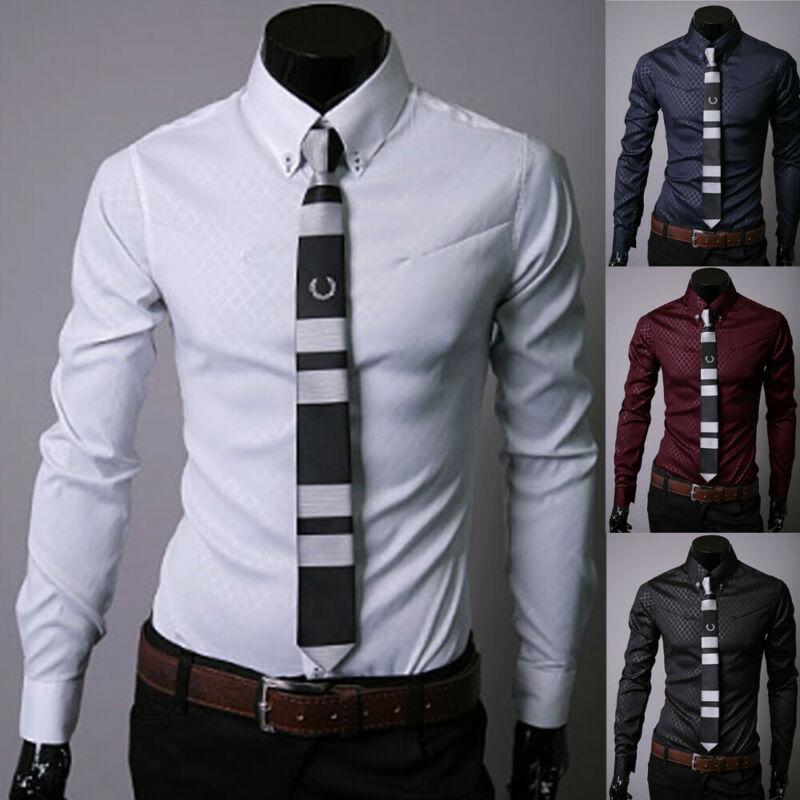 Hot Sale New Fashion Masculina Long Sleeve Shirt Men Slim Fit Formal Luxury Design Casual Brand Male Stylish Dress Shirts Tops