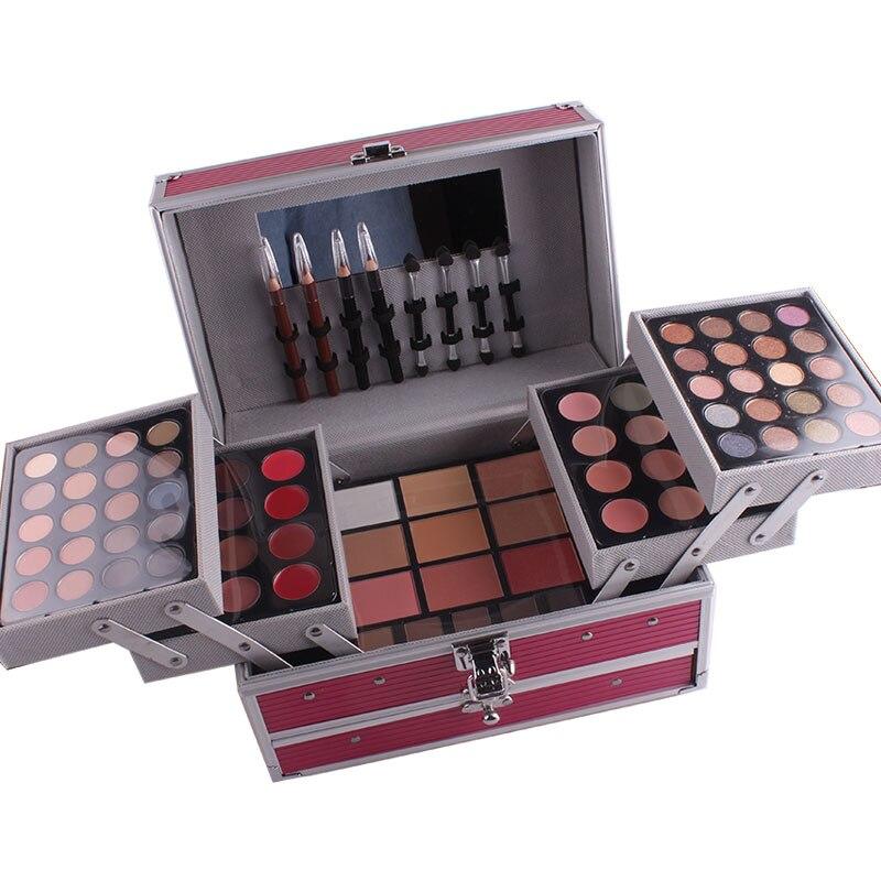 Miss Rose профессиональный набор для макияжа коробка для макияжа Блеск Мерцающий матовая Палетка теней для век Блеск для губ Румяна Кисточки для макияжа - 2