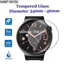 Cristal templado redondo de 22 46mm de diámetro, 9H, 2.5D, película protectora de pantalla de reloj para Samsung, Huawei, Honor, AMAZFIT, Garmin, DW, Casio, Timex
