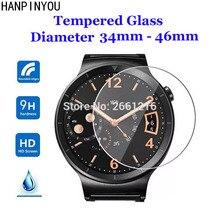 Durchmesser 22 46mm Runde Gehärtetes Glas 9H 2,5 D Uhr Screen Protector Film für Samsung Huawei Ehre AMAZFIT Garmin DW Casio Timex