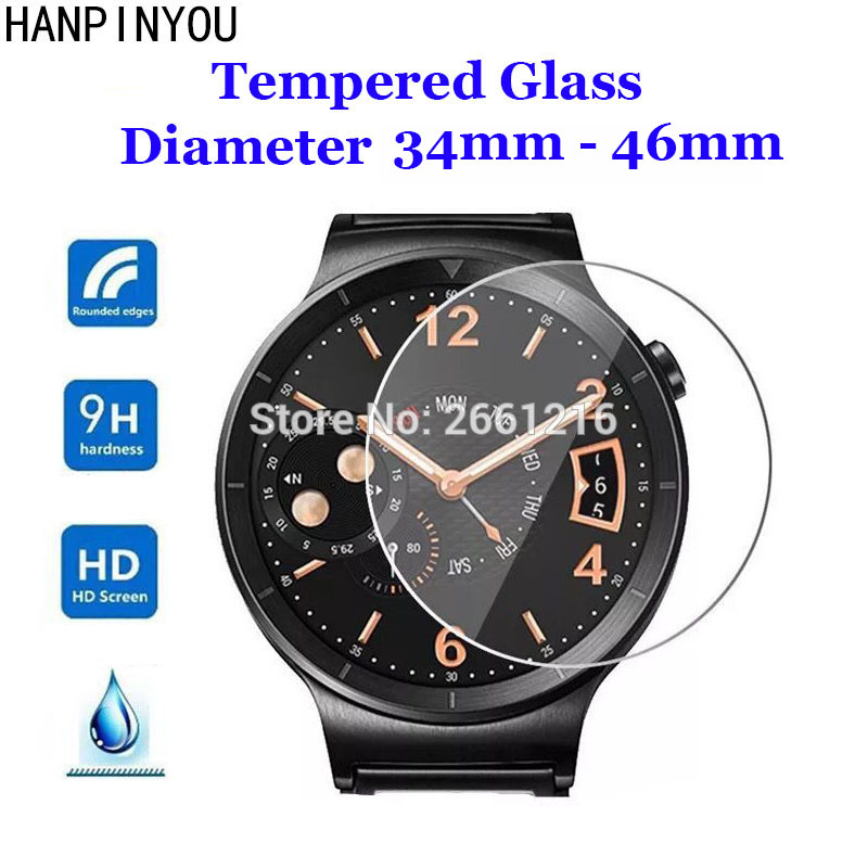 For Diameter 34mm - 46mm Smart Watch Tempered Glass 9H 2.5D Premium Screen Protector Film 34 35 36 37 38 39 40 41 42 43 44 45 Mm