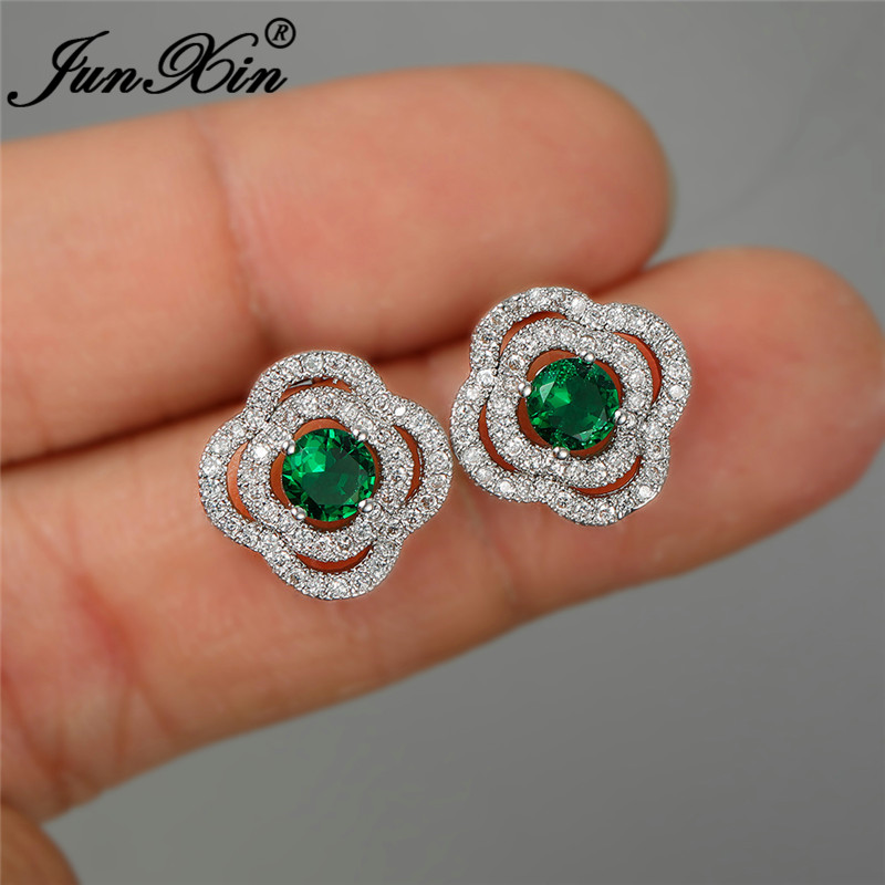 Vintage Multicolor Crystal Flower Stud Earrings For Women White Gold Colorful Zircon Blue Green Yellow Stone Wedding Ear Studs