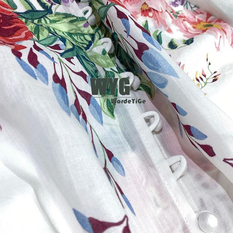High Quality White Linen Blouse 2020 Spring Summer Flowers Print Lantern Sleeve Shirts Tops