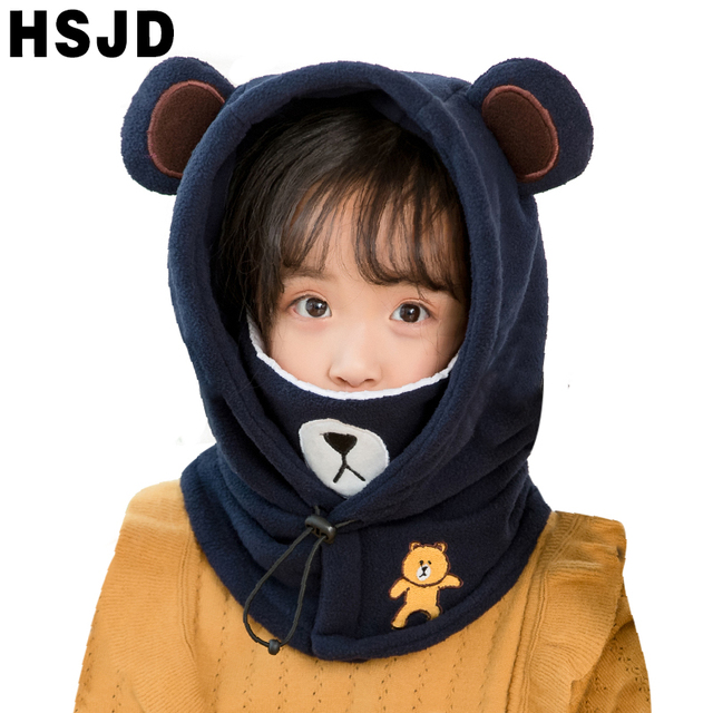 لطيف الكرتون الأطفال الشتاء الحيوان الدب أقنعة التزلج القبعات الاطفال الطفل الحرارية الصوف بالاكلافا الوجه بيني أدفأ Skullies القبعات
