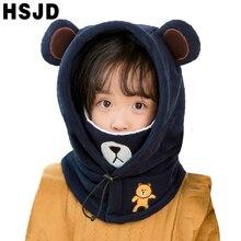 Gorros de esquí con dibujos de animales para niños, gorros de máscaras térmicos de lana para bebés, pasamontañas para la cara, gorros cálidos