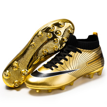 2020 Black Golden Men Football Boots High Ankle Soccer Shoe