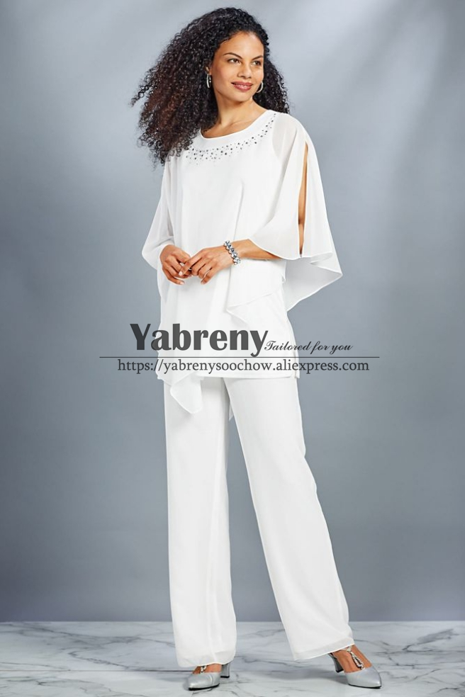 New Style Mother Of The Bride Pant Suit White Chiffon Beach Wedding Trouser Outfit