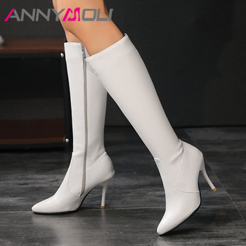 ANNYMOLI Extreme High Heel Woman Boots Thin Heel Knee High Boots Zip Pointed Toe Long Boots Female Shoes Autumn Winter White 46 zipper knee high thin heel boots leather sexy red long boots high heel over knee pointed toe sexy party shoes