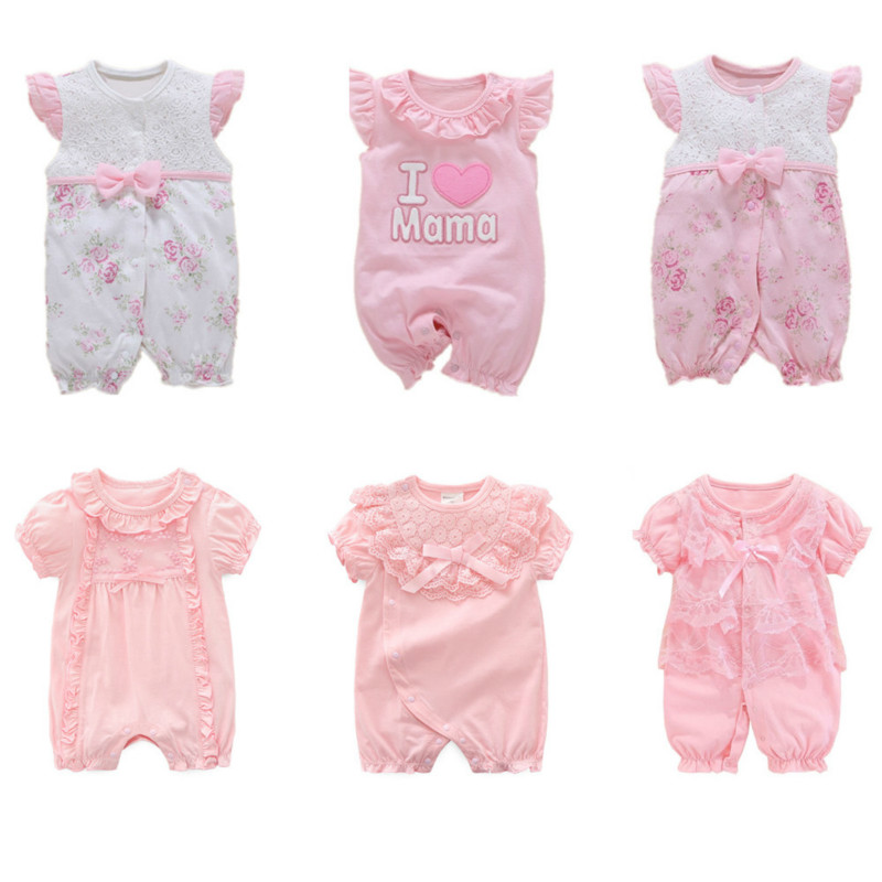 100% COTTON New Born Baby Girl Rompers Summer Baby Girl Clothes 0 3 6 9 Months Pink Princess Infant Rompers Toddler Clothing