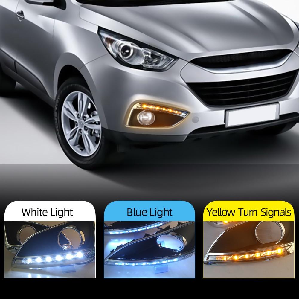 2 шт. DRL для Hyundai IX35 2010 2011 2012 2013 DRL дневный ходовой светильник, противотуманная фара, светодиодный светильник, противотуманная фара