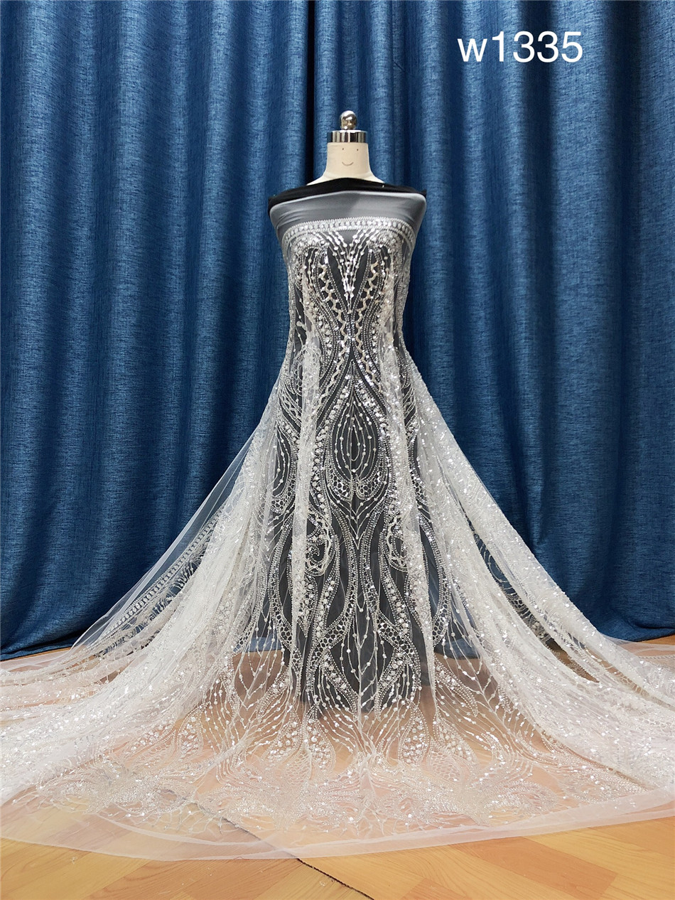 Wholesale  Applique Beaded Wedding Fabric Embroidered Bridal Lace