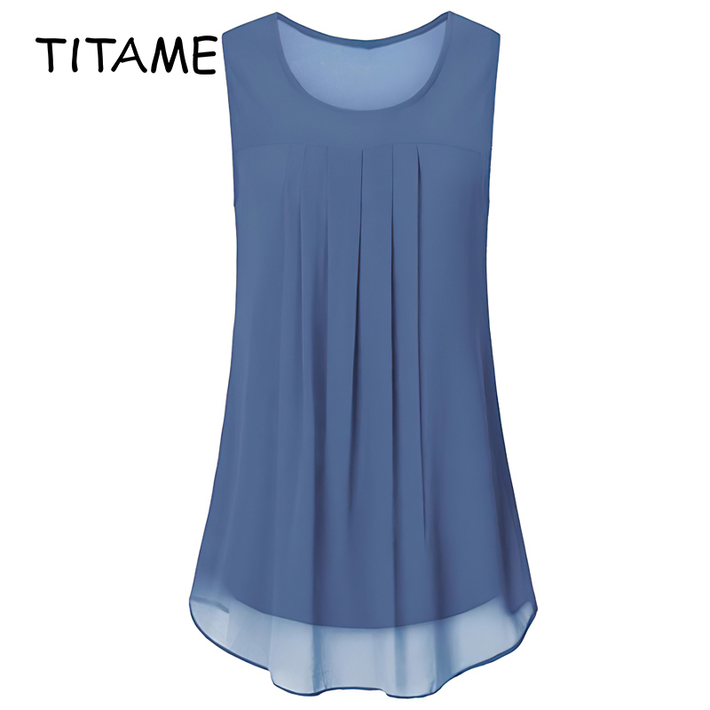 TITAME 2020 Fashion Women's Sleeveless Chiffon Tank Top Casual Blouse Tunic Pure Color Pleated Big Swing Loose Chiffon Shirts