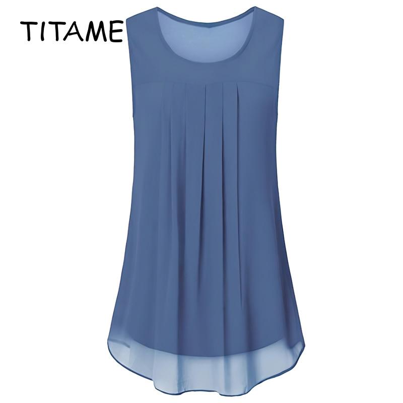 TITAME 2020 Fashion Women's Sleeveless Chiffon Tank Top Casual Blouse Tunic Pure Color Pleated Big Swing Loose Chiffon Shirts