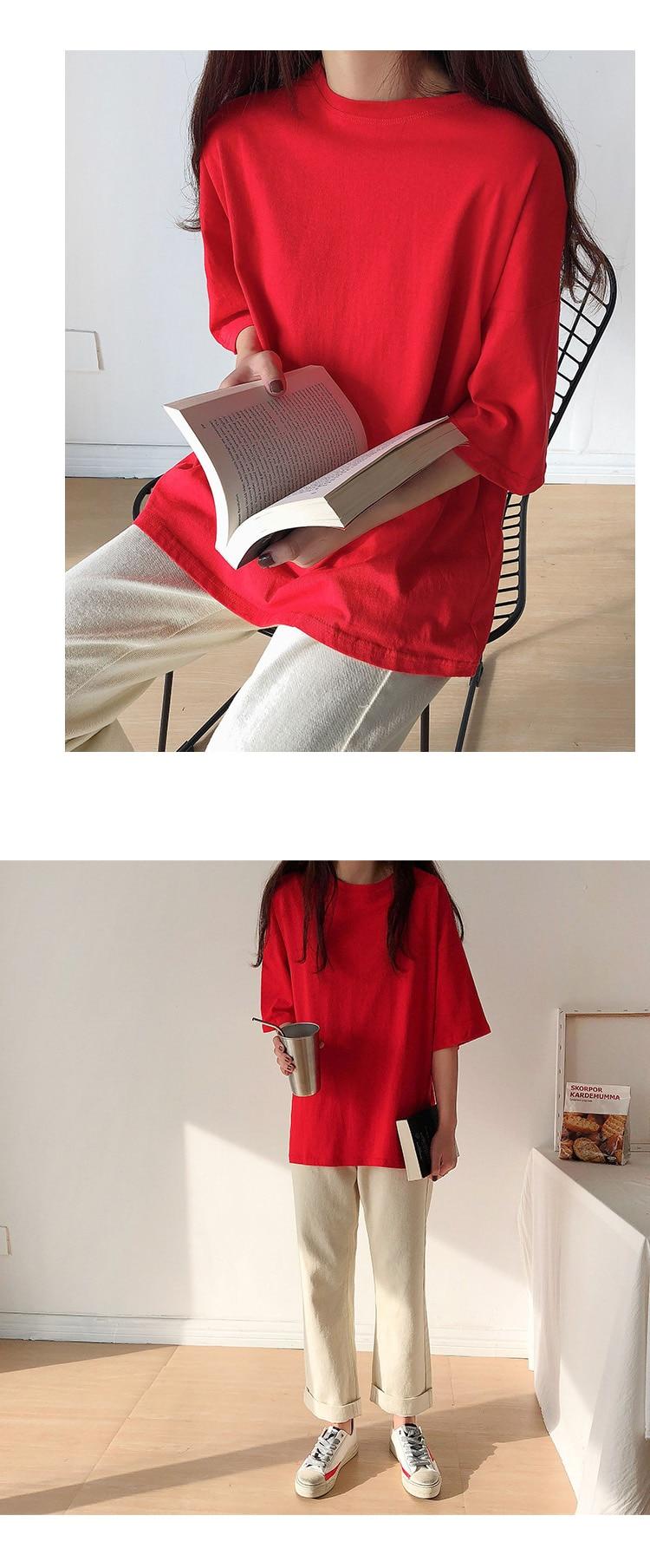 Ha78aeadfc77e4d22b69f5dd9648f945fT - Summer O-Neck Short Sleeves Minimalist Loose Basic T-Shirt