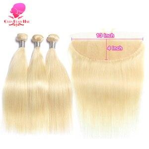 Image 2 - KÖNIGIN SCHÖNHEIT 613 Blonde Gerade Brasilianische Haarwebart Menschliches Haar Bundles mit Verschluss 3PC Remy Haar und 1PC spitze Frontal Schließung