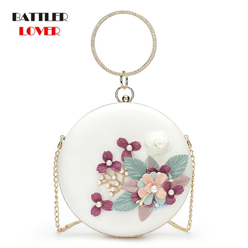 2019 Metal Handle Circular Bag 3D Flower Women Shoulder Bag Girl Round Clutch Evening Ladies Wedding Party Crossbody Handbag