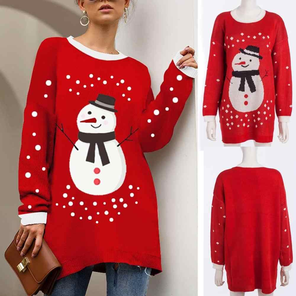 Women's Plus Size Christmas sweater elk snowmen Long Sleeved Casual  Knit Pullover knitted Tops outsit winter Dropshipping