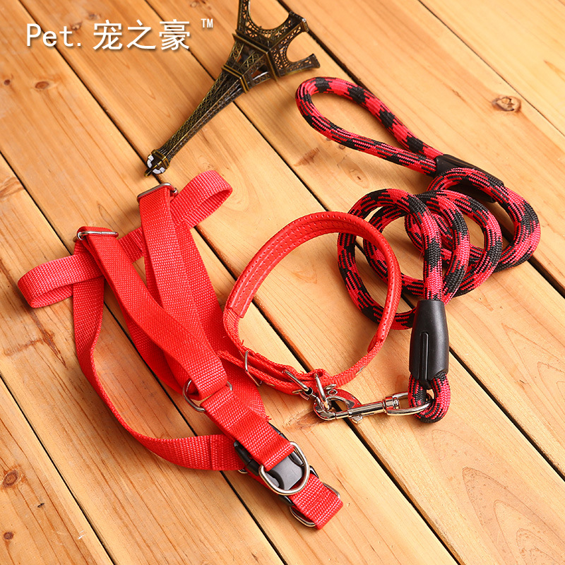 Upgraded Double Color Neck Ring Round Lanyard P Pendant Medium Large Dog Traction Belt Puppy Lanyard Dog Pendant Sub-Pet Tractio