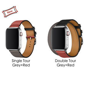 Image 3 - 40mm 44mm Black Strap For Apple Watch Series 5 Watchband Genuine Leather Bracelet Single Double Tour Bands For iWatch Series 3 2
