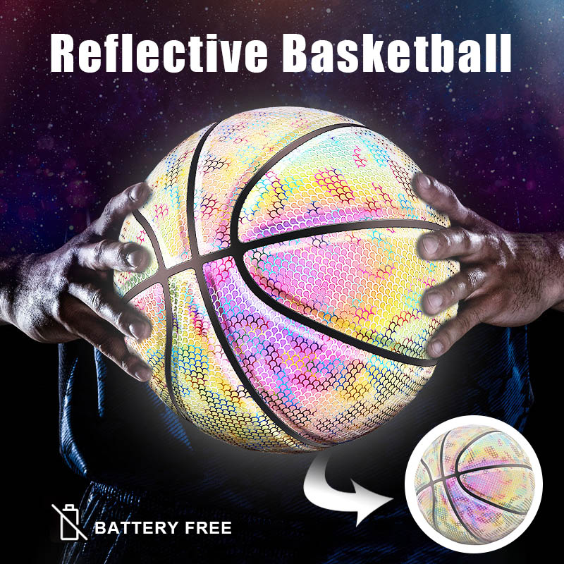 Glowing Reflective Basketball Night Colorful Wear-Resistant Basketball Sports Ball Rainbow Starry Sky Luminous Basketball