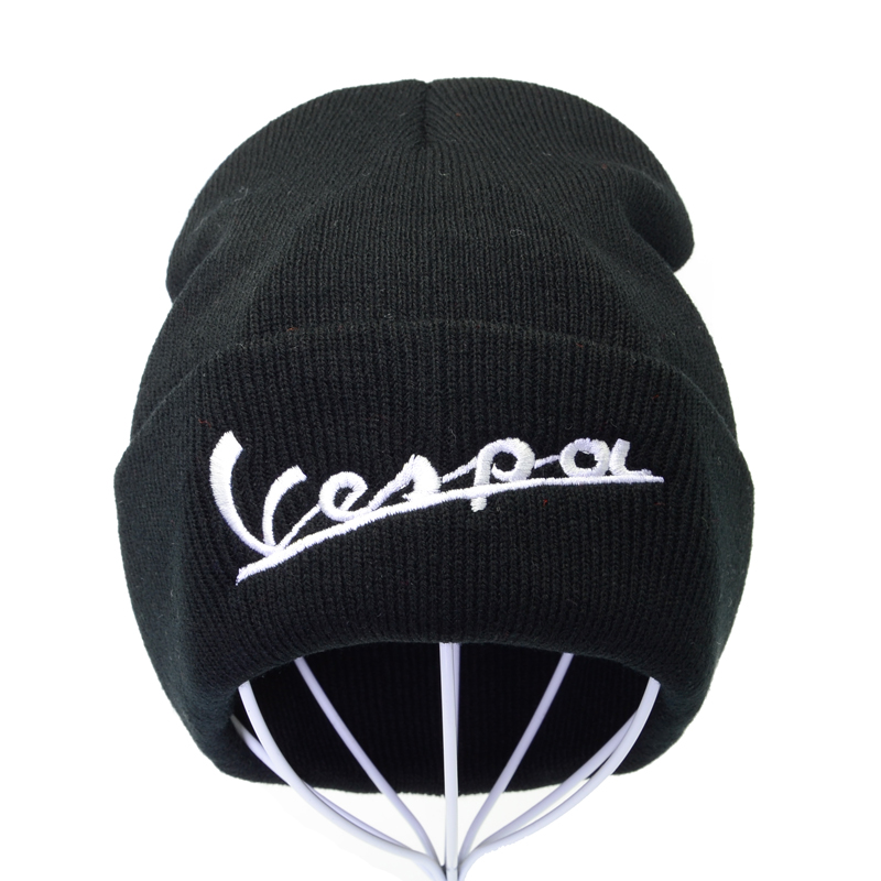 Knitted Hat Beanie-Cap Scooter Vespa-Letter Funny Vintage Winter Embroideryt Unisex Warm title=