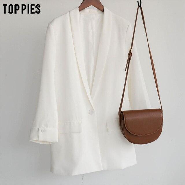 Toppies 2021 Women Long Jacket Rolled Sleeve Blazer Femenino Suit Single Button Chaquetas White Coat 4