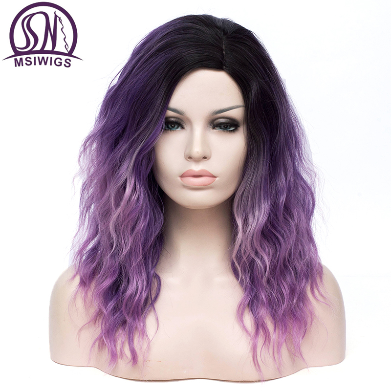 MSIWIGS Long Pink and Purple Wig Cosplay Synthetic Wavy Hair with side line for Women Natural Heat Resistant