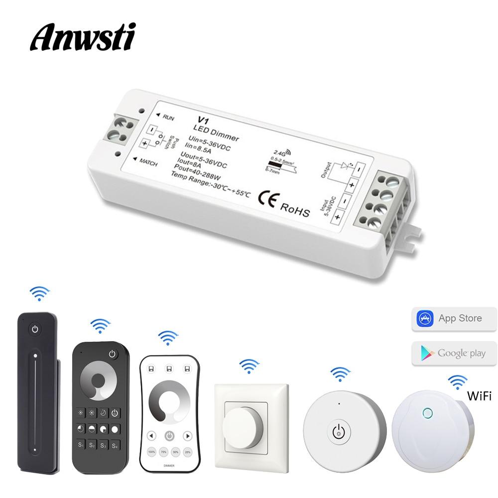 LED Dimmer 12V 24V PWM 2.4G Wireless RF 2.4G Touch Remote Controller 5V 36V Smart Wifi Dimmer Switch For Single Color LED Strip