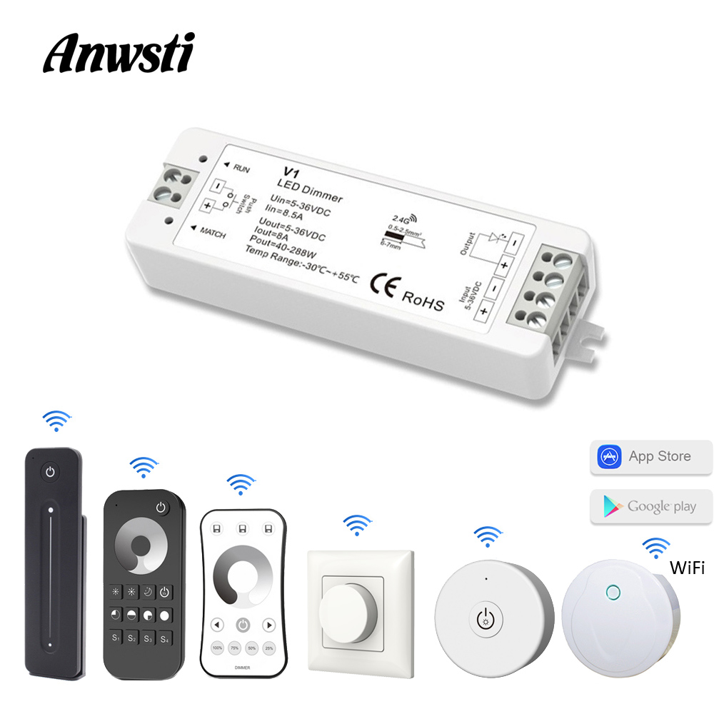LED Dimmer 12V 24V PWM 2,4G inalámbrico RF de 2,4G remoto controlador 5V 36V interruptor de atenuación Wifi inteligente para tira de LED de un solo Color