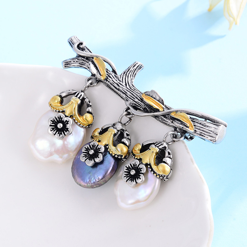 Hongye Freshwater Natural Pearl Brooch Branches Plant Silver Color Vintage Brooches Gift For Temperament Women Girls Appointment-2