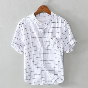 2020 letnia nowa czysta bawełniana w kratę koszula męska z krótkim rękawem marki koszule w szkocką kratę dla mężczyzn stójka w stylu casual koszula męska koszulka tanie i dobre opinie NoEnName_Null COTTON Casual Shirts STAND Pojedyncze piersi REGULAR 5130-1 Suknem Na co dzień Plaid 100 cotton