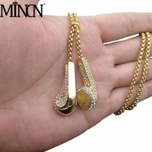 MINCN Headphones New Necklace Hip Hop Fashion Stainless Steel Ear Plug Pendant Titanium Gold PlatedNecklace